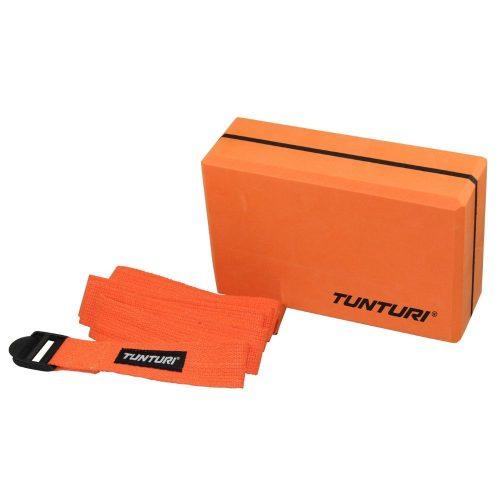 Tunturi yoga block with belt orange
