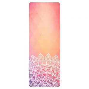 Avento Suede Yoga Mat With Print Pink/Orange
