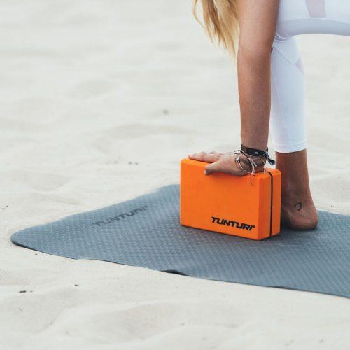 Tunturi Fitness Mat TPE Grey with yoga block