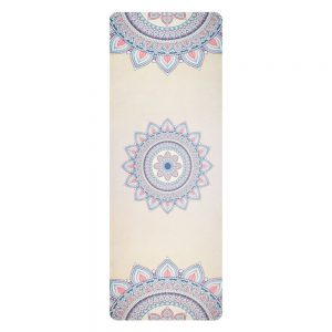 Avento Suede Yoga Mat With Print Beige/Pink/Blue